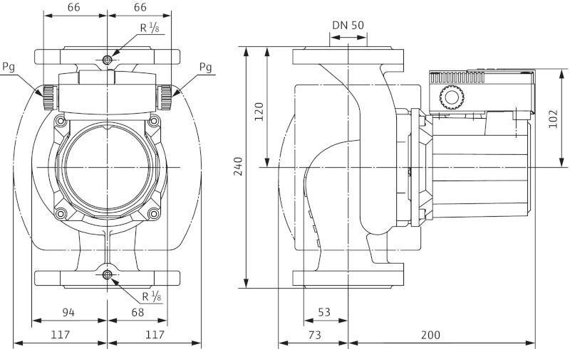 Габаритные размеры циркуляционного насоса Wilo TOP-S 50/4 DM
