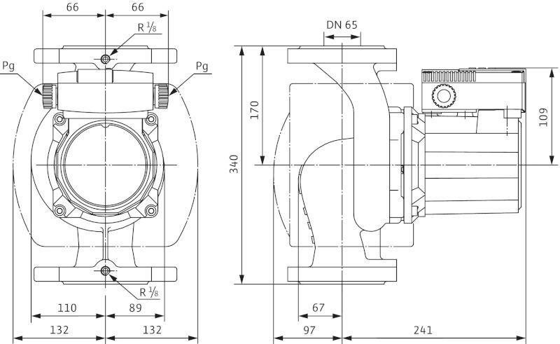 Габаритные размеры циркуляционного насоса Wilo TOP-S 65/10 DM