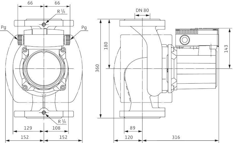 Габаритные размеры циркуляционного насоса Wilo TOP-S 80/15 DM PN10