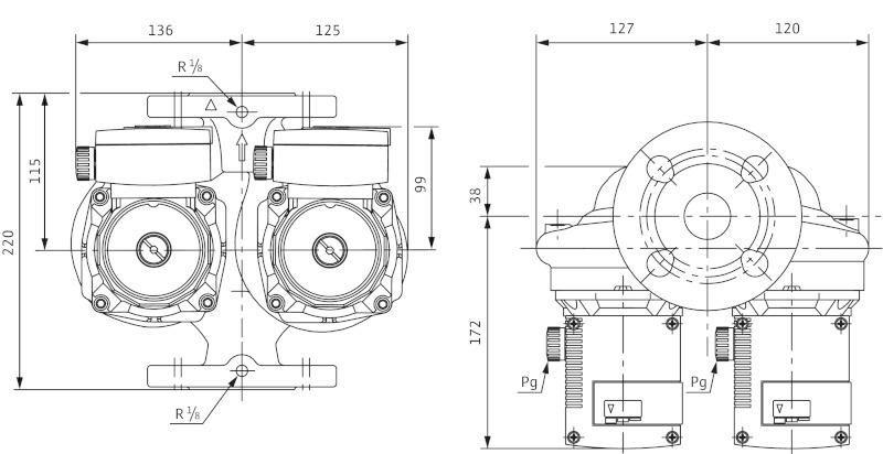 Габаритные размеры сдвоенного циркуляционного насоса Wilo TOP-SD 32/7 EM