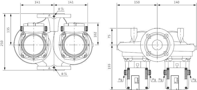 Габаритные размеры сдвоенного циркуляционного насоса Wilo TOP-SD 40/7 DM