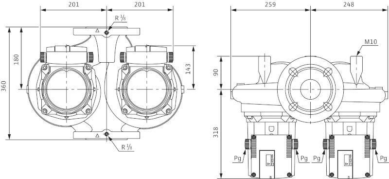 Габаритные размеры сдвоенного циркуляционного насоса Wilo TOP-SD 80/20 DM PN6