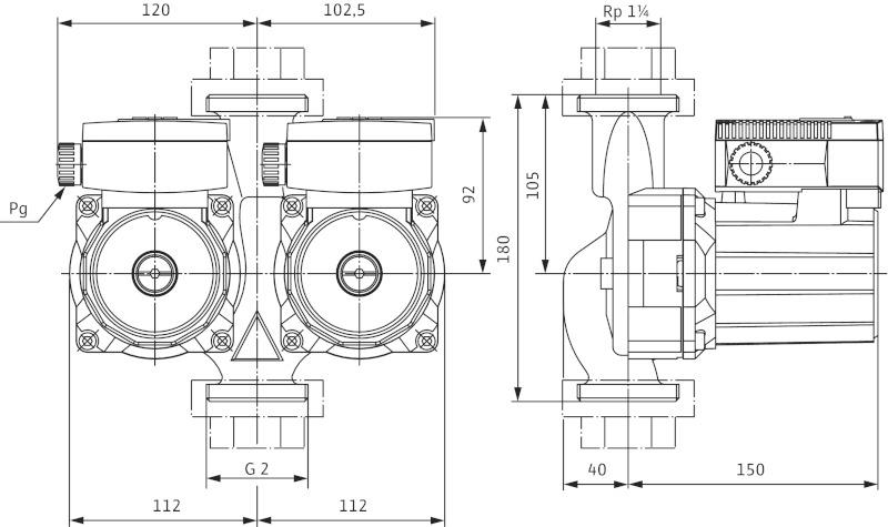 Габаритные размеры сдвоенного циркуляционного насоса Wilo TOP-SD 30/5 DM