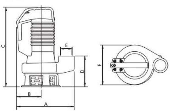 Габаритные размеры погружного насоса Zenit DR bluePRO 50/2/G32V A1BT/50
