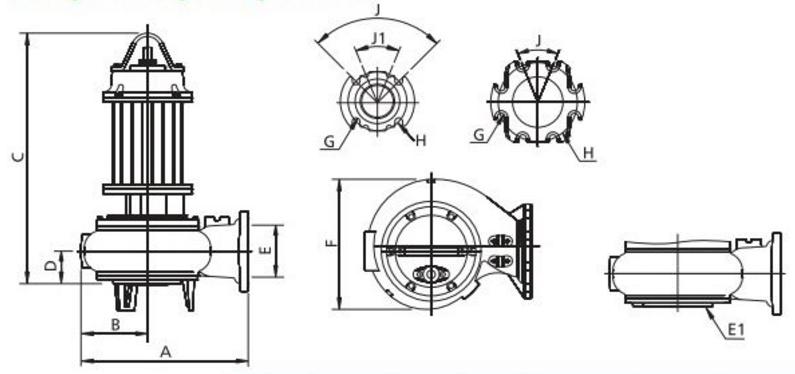 Габаритные размеры дренажного погружного насоса Zenit SMP 550/2/80 A0GT/50