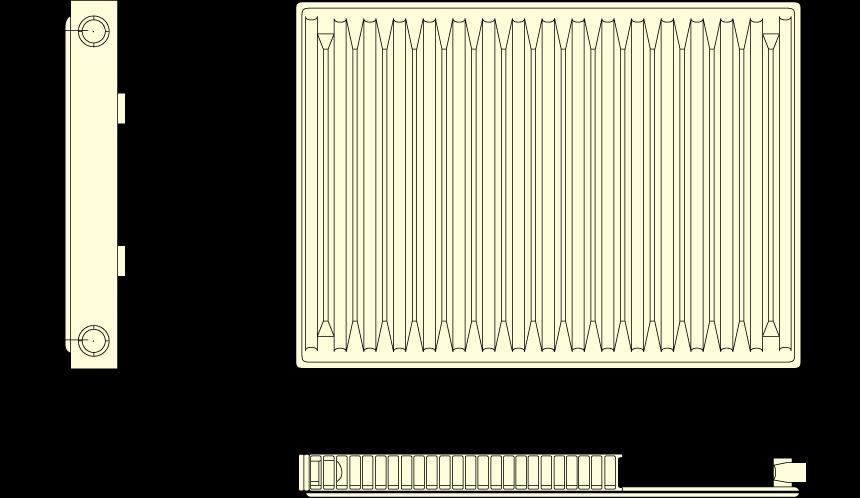 Габаритные размеры стального радиатора отопления Roda тип 11 500х400