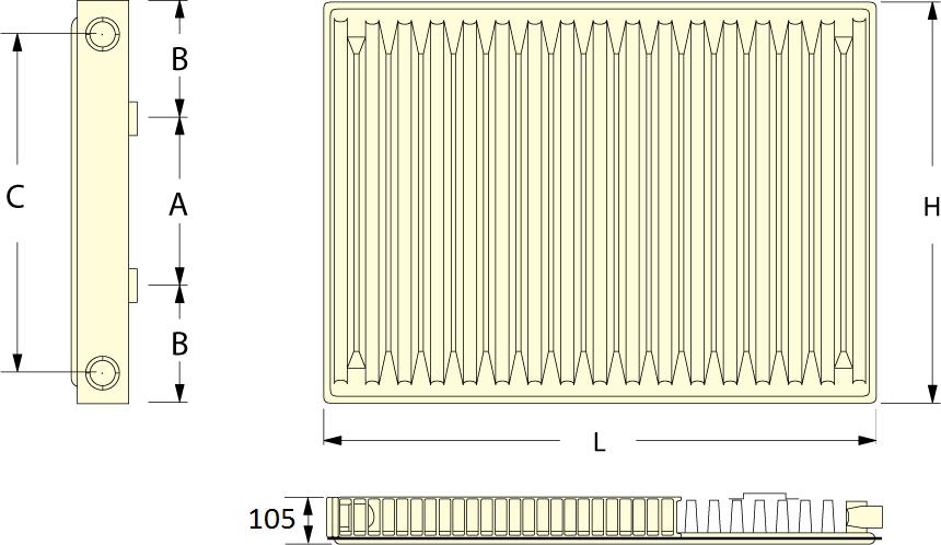 Габаритные размеры стального радиатора отопления Roda 22 500x400