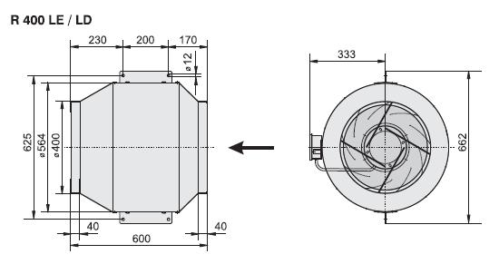 Габаритные размеры канального вентилятора Rosenberg R 400LE