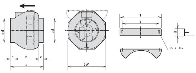 Габаритные размеры канального вентилятора Rosenberg RS 250L