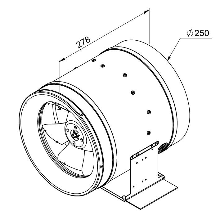 Габаритные размеры канального вентилятора Ruck EL 250 D2 01