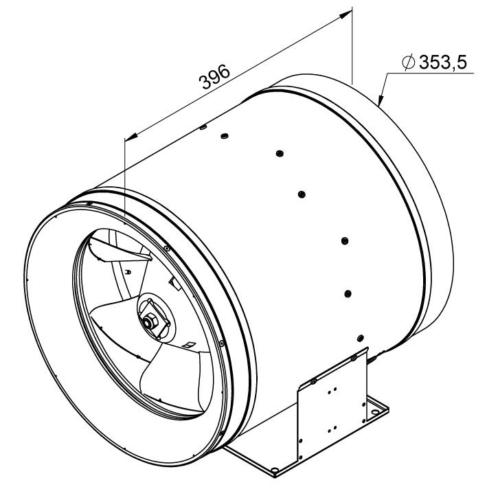 Габаритные размеры канального вентилятора Ruck EL 355 D2 01