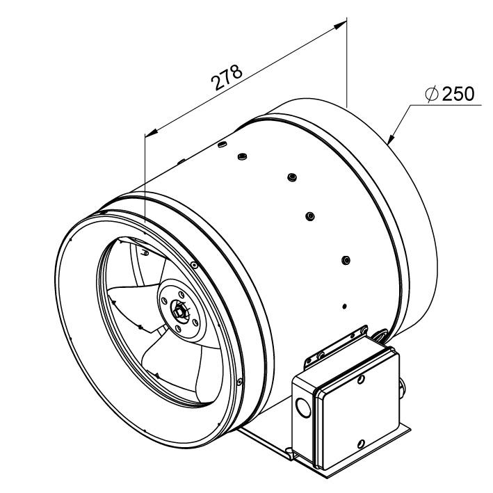 Габаритные размеры канального вентилятора Ruck EL 250 E2 01
