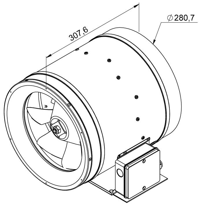 Габаритные размеры канального вентилятора Ruck EL 280 E2 02