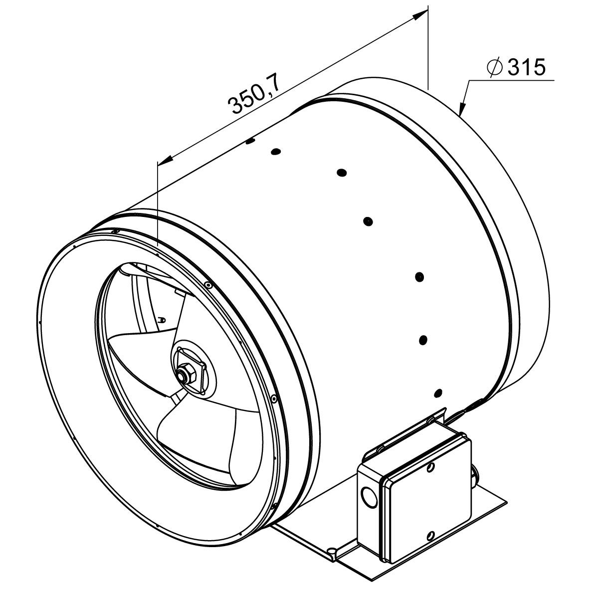 Габаритные размеры канального вентилятора Ruck EL 315 E2 01