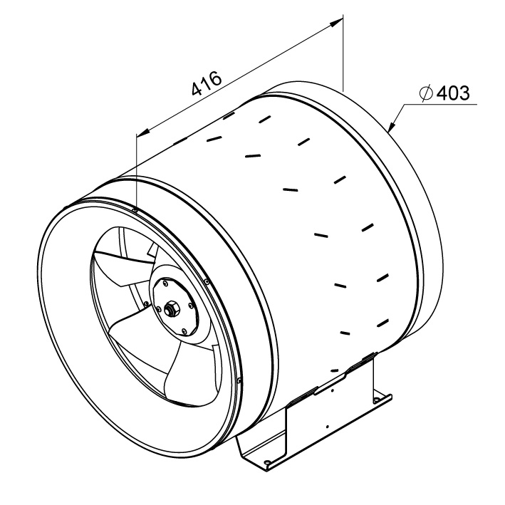 Габаритные размеры канального вентилятора Ruck EL 400 E4 01