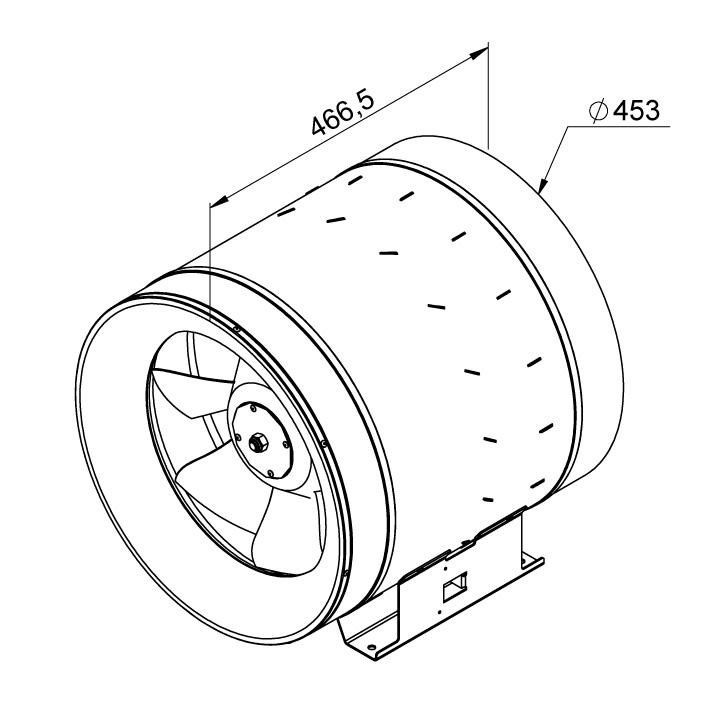 Габаритные размеры канального вентилятора Ruck EL 450 E4 01