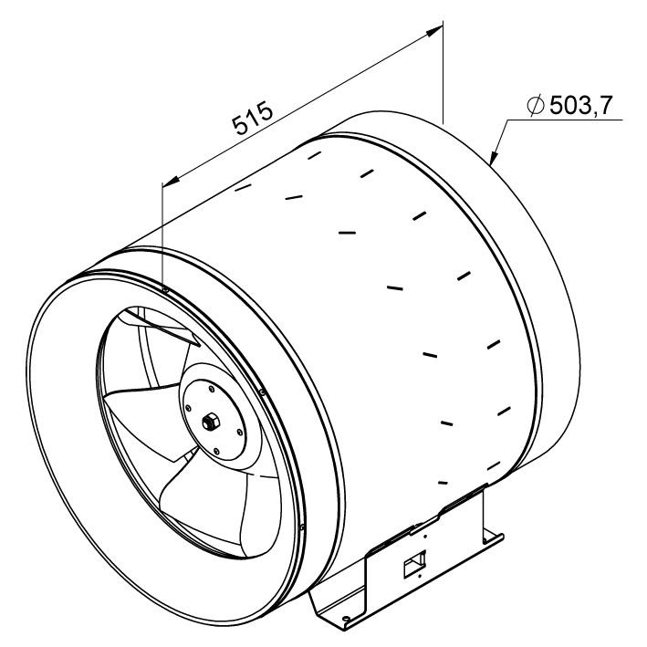 Габаритные размеры канального вентилятора Ruck EL 500 E4 01