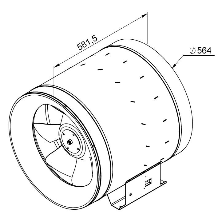 Габаритные размеры канального вентилятора Ruck EL 560 E4 01