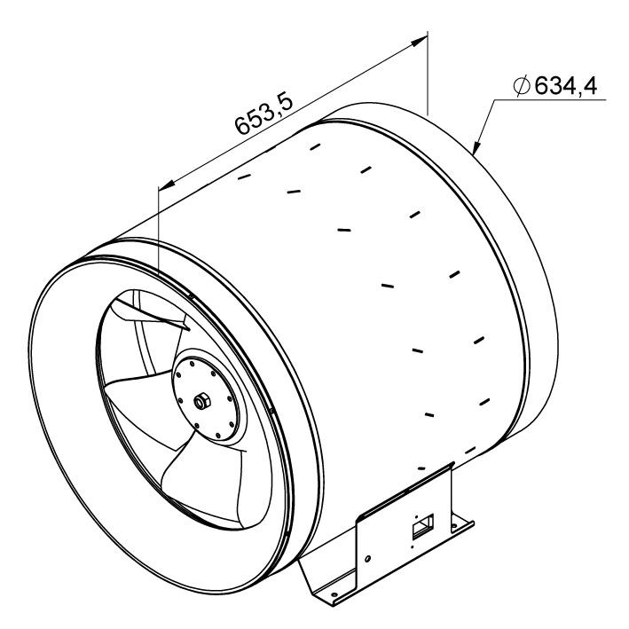Габаритные размеры канального вентилятора Ruck EL 630 E4 01