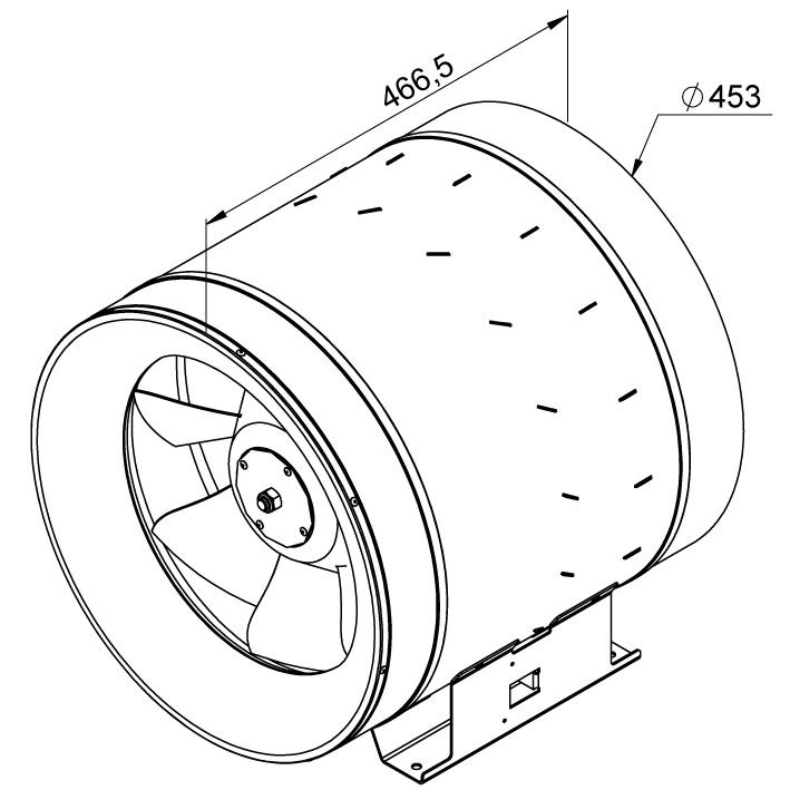 Габаритные размеры канального вентилятора Ruck EL 450 D4 01