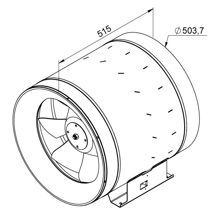 Габаритные размеры канального вентилятора Ruck EL 500 EC 01