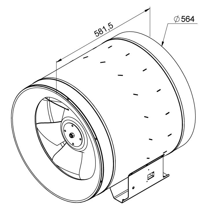 Габаритные размеры канального вентилятора Ruck EL 560 D4 01