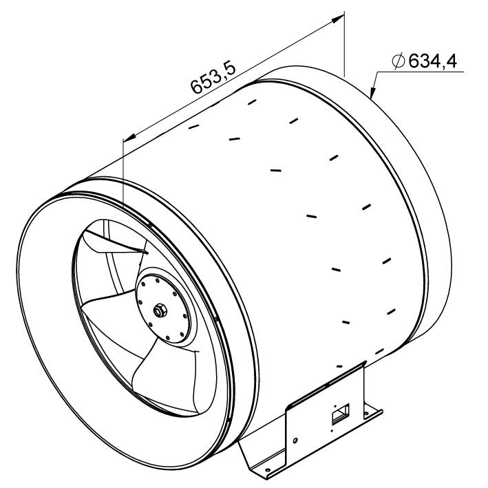 Габаритные размеры канального вентилятора Ruck EL 630 EC 01