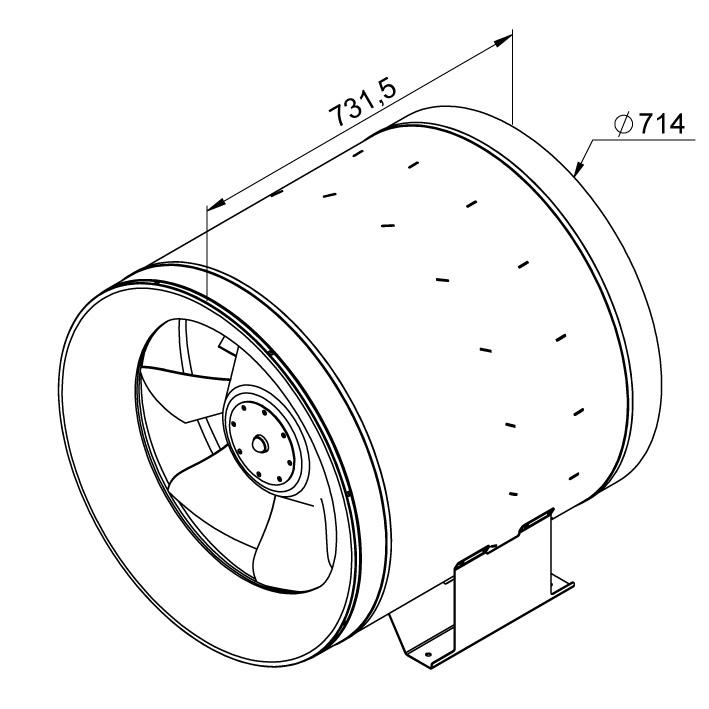 Габаритные размеры канального вентилятора Ruck EL 710 D4 01