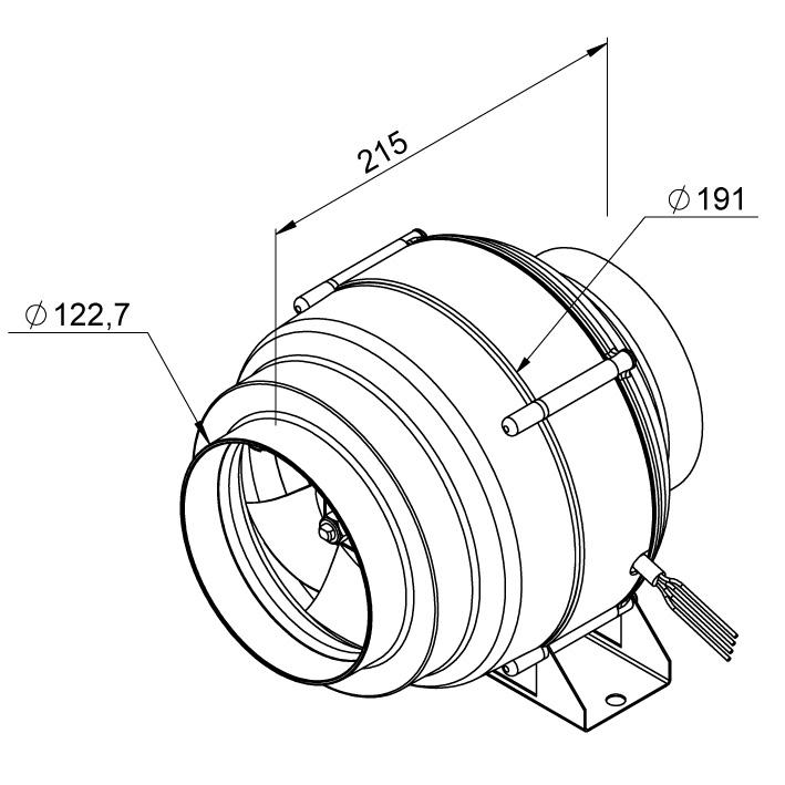 Габаритные размеры канального вентилятора Ruck EL 125 E2M 01