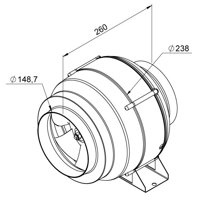 Габаритные размеры канального вентилятора Ruck EL 150L E2M 01