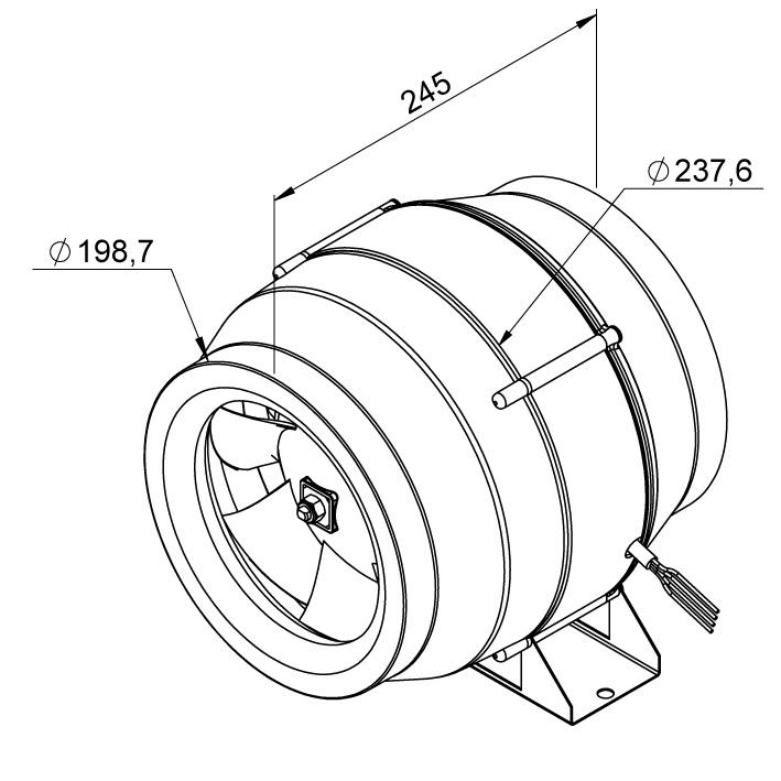 Габаритные размеры канального вентилятора Ruck EL 200 E2M 01