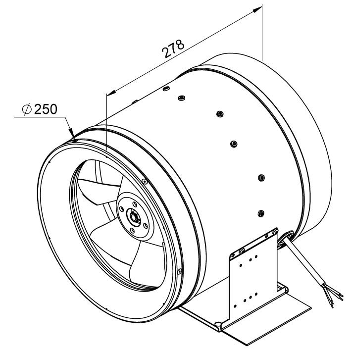 Габаритные размеры канального вентилятора Ruck EL 250 E2M 01