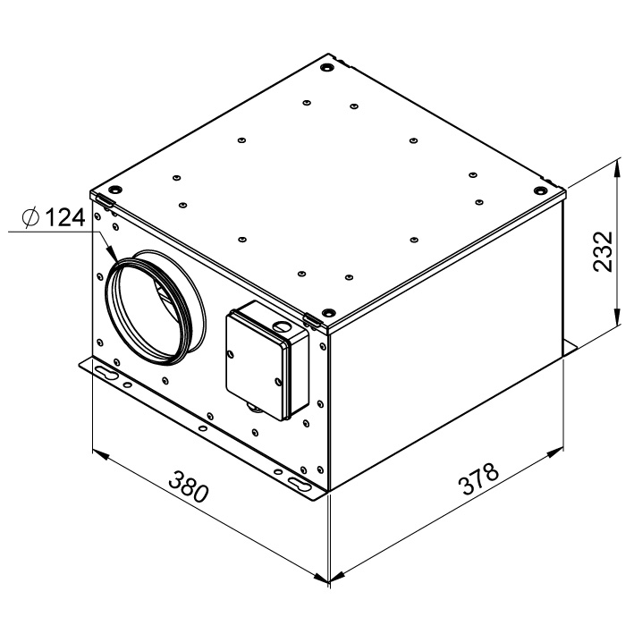 Габаритные размеры вентилятора Ruck ISOR 125 E2 10