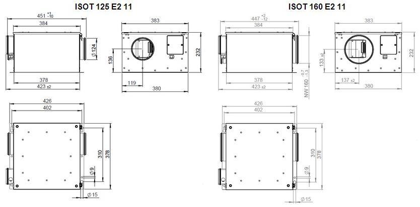 Габаритные размеры вентилятора Ruck ISOT 125 E2 11