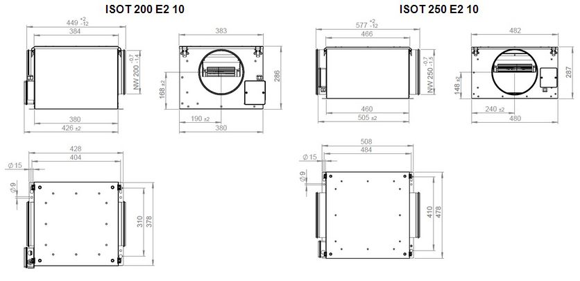 Габаритные размеры вентилятора Ruck ISOT 250 E2 10