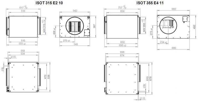 Габаритные размеры вентилятора Ruck ISOT 355 E2 11