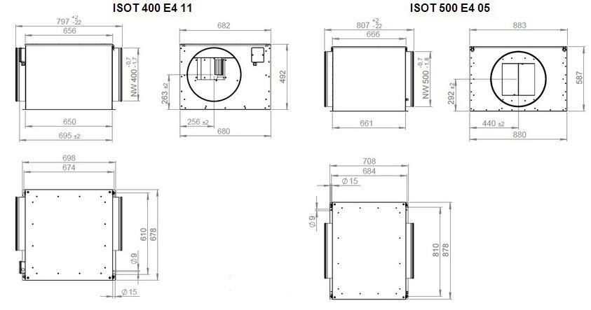 Габаритные размеры вентилятора Ruck ISOT 500 E2 05