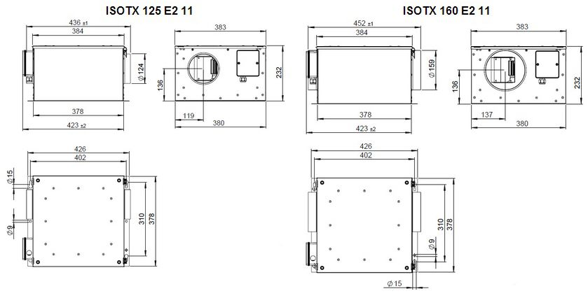 Габаритные размеры вентилятора Ruck ISOTX 125 E2