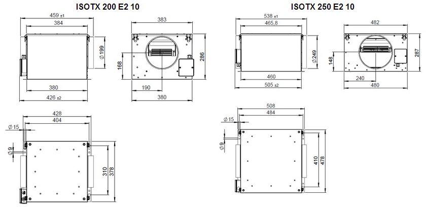 Габаритные размеры вентилятора Ruck ISOTX 250 E2