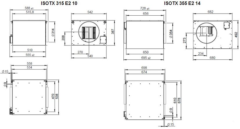 Габаритные размеры вентилятора Ruck ISOTX 315 E4