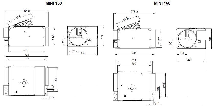 Габаритные размеры канального вентилятора Ruck MINI 160