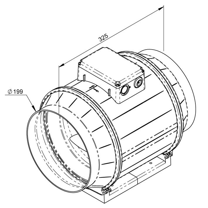 Габаритные размеры канального вентилятора Ruck EM 200 E2M 01