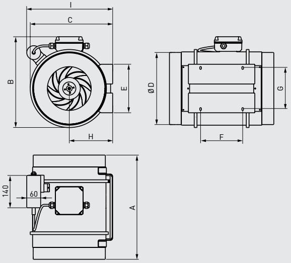 Габаритные размеры канального вентилятора Soler&Palau ATEX