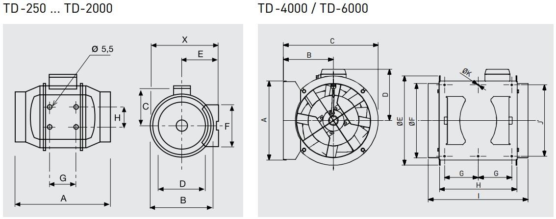 Габаритные размеры канального вентилятора Soler&Palau TD-MIXVENT
