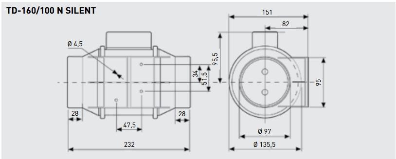 Габаритные размеры канального вентилятора Soler&Palau TD-160/100 N SILENT
