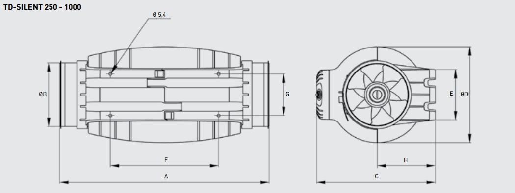 Габаритные размеры канального вентилятора Soler&Palau TD-350/125 SILENT