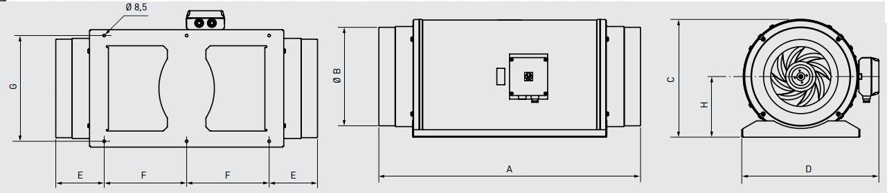 Габаритные размеры канального вентилятора Soler&Palau TD-2000/315 SILENT