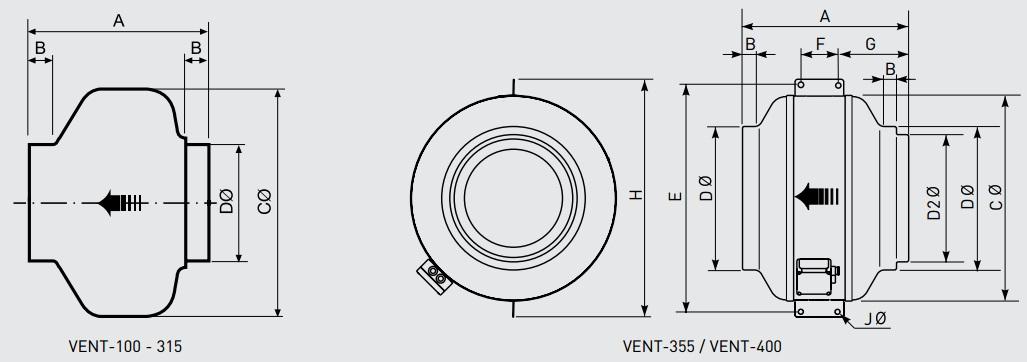 Габаритные размеры канального вентилятора Soler&Palau VENT