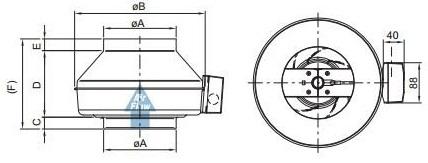 Габаритные размеры канального вентилятора Systemair K 150 M