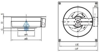 Габаритные размеры канального вентилятора Systemair KV 200 L